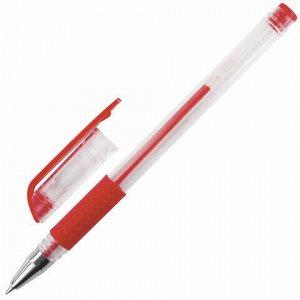 """Ручка гелевая с грипом STAFF """"EVERYDAY"""", КРАСНАЯ, корпус прозрачный, узел 0,5 мм, линия письма 0,35 мм, 141824"""