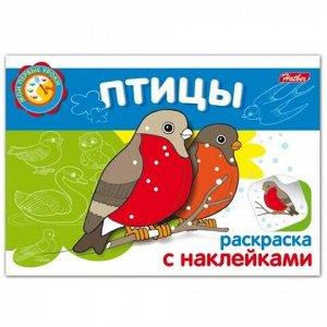"""Книжка-раскраска А5, 4 л., HATBER с наклейками, Мои первые уроки, """"Птицы"""", 4Р5н 05826, R002705"""