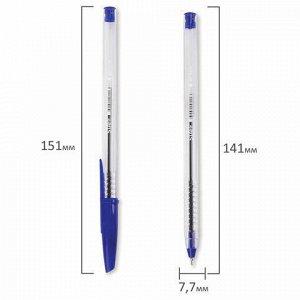 """Ручка шариковая масляная STAFF """"Basic"""", СИНЯЯ, корпус прозрачный, игольчатый узел 0,7 мм, линия письма 0,35 мм, 141705"""