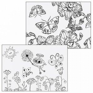"""Альбом для рисования, А4, 8 листов, скоба, обложка картон, с раскраской, ЮНЛАНДИЯ, 200х283 мм, """"Бабочки"""" (2 вида), 105039"""