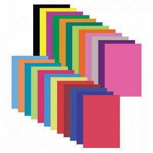 """Цветная бумага, А4, мелованная (глянцевая), 24 листа 24 цвета, на скобе, ЮНЛАНДИЯ, 200х280 мм, """"ЛЬВЁНОК"""", 129556"""