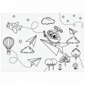 """Альбом для рисования А4, 20 листов, скоба, обложка картон, с раскраской, ЮНЛАНДИЯ, 202х285 мм, """"Полёт"""" (2 вида), 105048"""