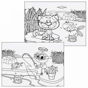 """Альбом для рисования, А4, 20 листов, скоба, глянцевый лак, с раскраской, ЮНЛАНДИЯ, 202х285 мм, """"Питомцы"""" (2 вида), 105052"""