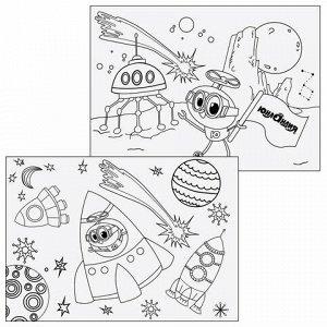 """Альбом для рисования, А4, 24 листа, скоба, обложка картон, с раскраской, ЮНЛАНДИЯ, 202х285 мм, """"Юнландик в космосе"""", 105056"""
