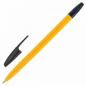 """Ручка шариковая STAFF """"BP-1000"""", ЧЕРНАЯ, корпус оранжевый, узел 0,7 мм, линия письма 0,35 мм, 142827"""