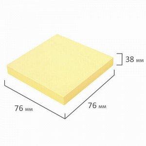 Блок самоклеящийся (стикеры) ЮНЛАНДИЯ 76х76 мм, 100 листов, желтый, 111347