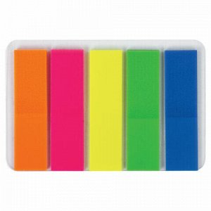 Закладки клейкие ЮНЛАНДИЯ НЕОНОВЫЕ, 45х12 мм, 5 цветов х 20 листов, в пластиковой книжке, 111354