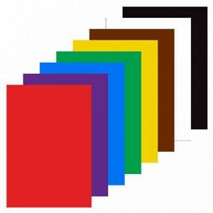 """Картон цветной А4 немелованный (матовый), 8 листов 8 цветов, в папке, ЮНЛАНДИЯ, 200х290 мм, """"ВЕСЕЛЫЙ ЖИРАФИК"""", 129568"""