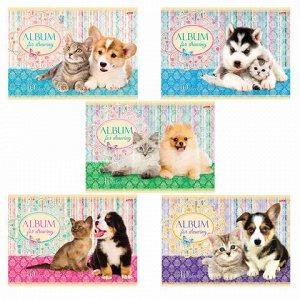 """Альбом для рисования, А4, 40 листов, обложка картон, HATBER, 205х290 мм, """"Маленькие друзья"""", 40А4В, А75302"""
