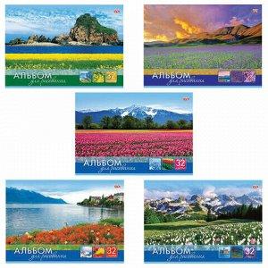 """Альбом для рисования, А4, 32 листа, скоба, обложка картон, HATBER VK, 205х290 мм, """"Мир в цветах"""", 32А4С, A212561"""