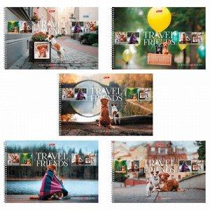 """Альбом для рисования, А4, 48 листов, спираль, обложка картон, HATBER, 205х300 мм, """"Путешествие друзей-1"""", 48А4Всп, A274361"""