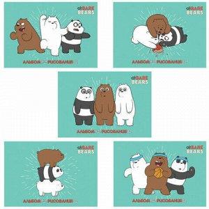 """Альбом для рисования, А4, 32 листа, скоба, обложка картон, HATBER, 205х290 мм, """"Вся правда о медведях"""" (5 вид),32А4В"""