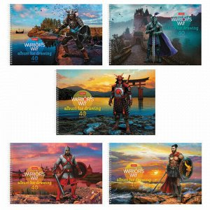 """Альбом для рисования А4, 40 листов, спираль, конгрев, фольга, HATBER, 205х300 мм, """"Путь воина"""" (5 видов), 40А4КфвлВсп"""