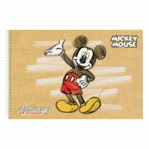 """Альбом для рисования, А4, 40 листов, спираль, обложка картон, HATBER, 205х300 мм, """"Микки Маус-DISNEY"""" (5 вид), 40А4Всп"""