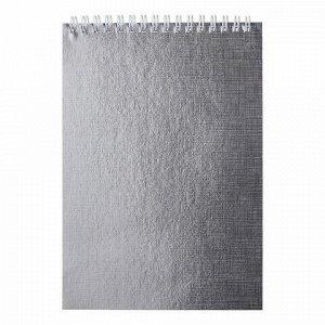 """Блокнот А5 (145х205 мм), 80 л., гребень, обложка бумвинил, цветной срез, клетка, HATBER, """"METALLIC"""", серебро, 80Б5бвВ1гр"""