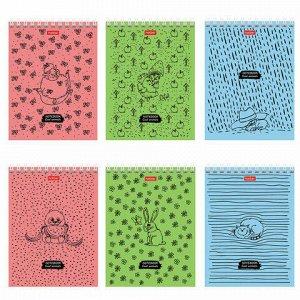 """Блокнот МАЛЫЙ ФОРМАТ (110х145 мм) А6, 40 л., гребень, обложка картон, клетка, HATBER, """"Animals"""", 40Б6В1гр"""