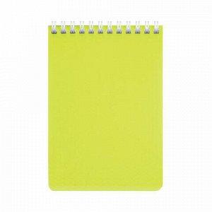 """Блокнот МАЛЫЙ ФОРМАТ (110х145 мм) А6, 80 л., гребень, обложка пластик, клетка, HATBER """"DIAMOND"""", желтый, 80Б6B1гр, 80Б6B1гр_02037"""