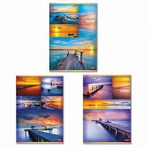 """Тетрадь, А4, 96 л., HATBER, скоба, клетка, обложка картон, """"Гаснет день в небесах"""" (3 вида), 96Т4В3"""