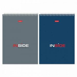 """Блокнот А5 (145х205 мм), 80 л., гребень, картон, жесткая подложка, клетка, HATBER, """"INSIDE"""" (""""Офисный""""), 80Б5С1гр, B46173"""