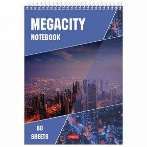 """Блокнот А5 (145х205 мм), 80 л., гребень, картон, жесткая подложка, клетка, HATBER, """"Megacity"""" (""""Город""""), 80Б5С1гр, B46180"""