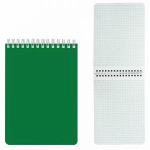 """Блокнот А5 (145х212 мм), 60 л., гребень, лакированная обложка, клетка, HATBER, """"Зелёный"""", 60Б5В1гр, B194065"""
