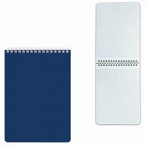 """Блокнот А5 (145х212 мм), 60 л., гребень, лакированная обложка, клетка, HATBER, """"Синий"""", 60Б5В1гр, B194072"""