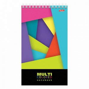 """Блокнот А5 (145х205 мм), 60 л., гребень, обложка пластик, жесткая подложка, линия, HATBER, """"Multicolor"""", 60Б5A2гр"""