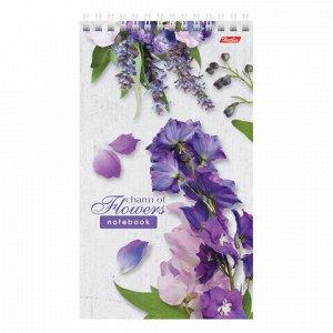 """Блокнот А5 (120х200 мм), 60 л., гребень, обложка пластик, жесткая подложка, линия, HATBER, """"Flowers"""", 60Б5A2гр"""