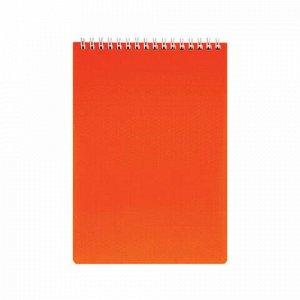 "Блокнот А5 (145х205 мм), 80 л., гребень, обложка пластик, клетка, HATBER, ""DIAMOND NEON"", оранжевый, 80Б5B1гр_02035"