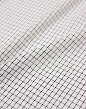 """Пестрядь """"Средняя черная клетка на белом"""", хлопок-95%, п/э-5%, 1.42 м"""