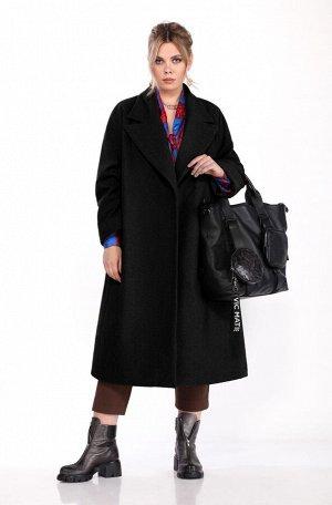 Пальто Пальто Pretty 1310 черный  Состав: ПЭ-40%; Шерсть-60%; Сезон: Осень-Зима Рост: 164  Женское пальто прямого силуэта. Выполненное из пальтовой ткани. Застежка центральная двубортная на потайные