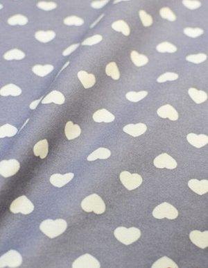 Теплый хлопок Белые сердечки на серой-дымке (2 сорт) ш.1.48 м, хлопок-100%