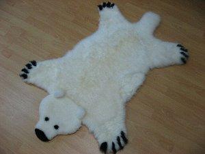 "Ковер из овчины ""Медведь"" LWR1001+LWR1016 0,8*1,3  ivory/brown"