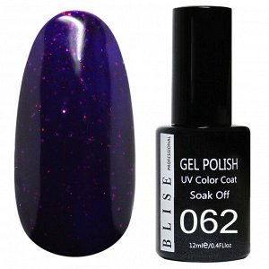 Гель-лак BLISE 062- Темно-фиолетовый с красными блестками