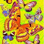 Р. Полотенце  80х150  банное   ваф.  Бабочки желтые