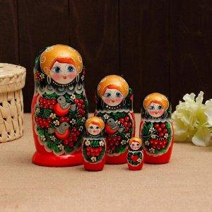 Матрёшка «Снегири в рябине», чёрный платок, 5 кукольная, 18 см