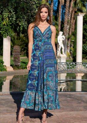 Сарафан 21F-031/2 S  Сарафан free size, 137 см, шелк, принт синий/голубой