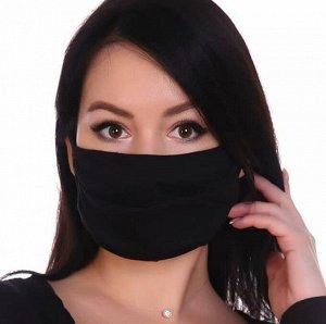 Комплект защитных санитарно-гигиенических масок, трикотаж (10 шт) (Темно-синий)
