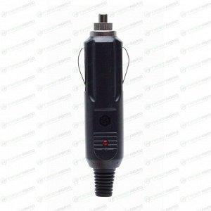 Штепсель в прикуриватель, черный, со светодиодным индикатором и предохранителем, арт. Гц-771-696