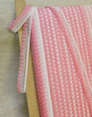Кружево цв.белый/розовый, 20мм, хлопок-88%, п/э-12%