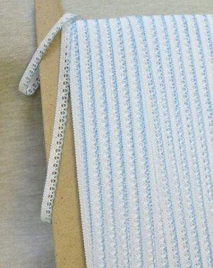 Кружево цв.белый/голубой, 11мм, хлопок-90%, п/э-10%