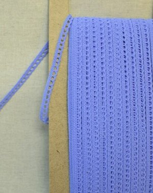 Кружево хлопок-90%, п/э-10%, 8мм, цв.ярко-голубой