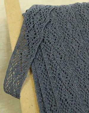 Кружево хлопок-90%, п/э-10%, 42 мм, цв.темный джинс