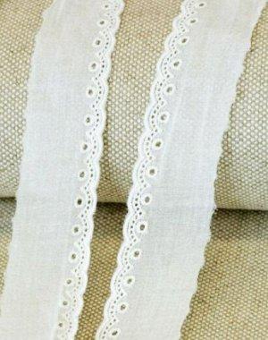 Шитье цв.молочный (общая ширина 45мм, ширина вышивки 13мм), хлопок-100%, батист