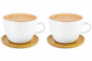 """Чашка для капучино и кофе латте 500 мл 14,5*12,8*9 см """"Снежная королева"""" + дерев. подставка (2 шт.)"""