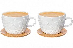 """Чашка для капучино и кофе латте 500 мл 14*11,2*8 см """"Птички на ветке"""" + дерев. подставка (2 шт.)"""