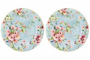 "Набор тарелок 2 пр. 26*26*2 см ""Яблоневый цвет на голубом"" NEW BONE CHINA"