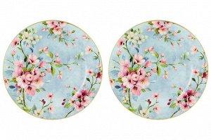 "Набор тарелок для десертов 2 пр. 19*19*2 см ""Яблоневый цвет на голубом"" NEW BONE CHINA"