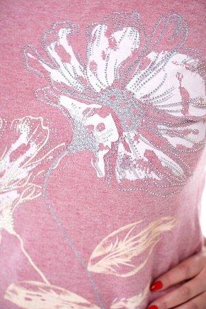"""Кофта-3900 Материал: Ангорка;   Фасон: Кофта; Длина рукава: Длинный рукав; Параметры модели: Рост 163 см, Размер 50 Кофта ангорка """"крупный цветок"""" со стразами розовая Кофта из мягкого трикотажа с доба"""