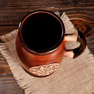 """Пивной бокал """"Славянский оберег Коловрат в Солнце"""", цвет темно-коричневый, 0.6 л"""